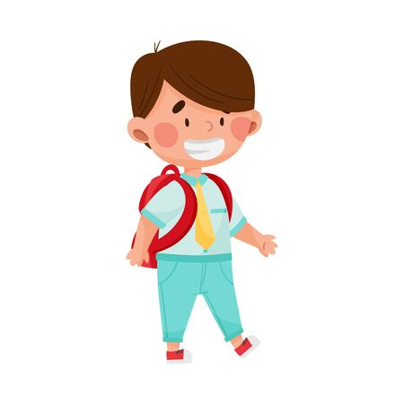Boy Character Going to School with Backpack Vector Illustration