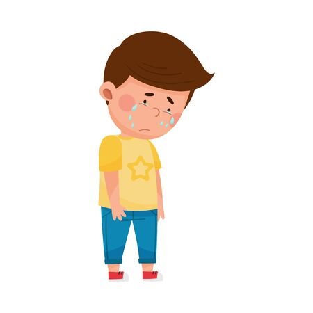 Sad and Depressed Dark-haired Boy Standing Slopping Tears Vector Illustration