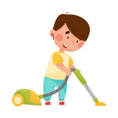 Cheerful Boy Character Vacuum Cleaning His Room Vector Illustration Vecteurs