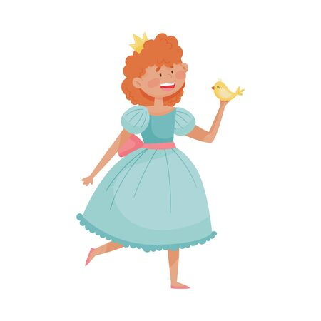 Smiling Princess with Red Hair Wearing Crown and Dressy Look Garment Holding Bird in Her Hands Vector Illustration