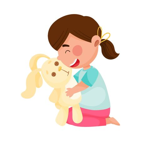 Cute Girl Character Playing with Toy Hare Hugging It Vector Illustration 일러스트