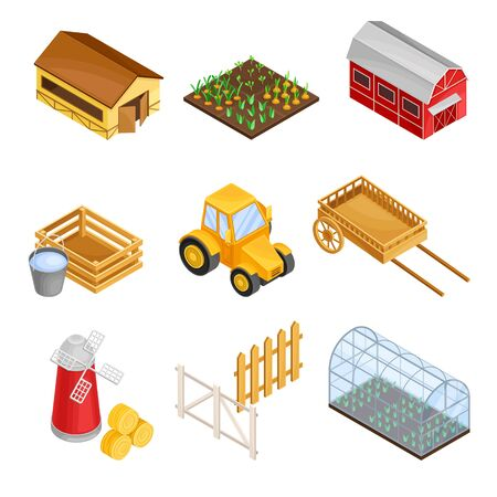 Greenhouse, Flour Mill and Tractor as Agricultural and Farming Industry Vector Isometric Set