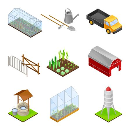 Greenhouse, Truck and Barn as Agricultural and Farming Industry Vector Isometric Set