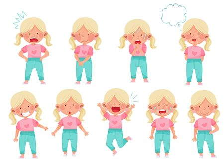 Emoji Girl with Ponytails Feeling Sadness and Excitement Vector Illustration Set