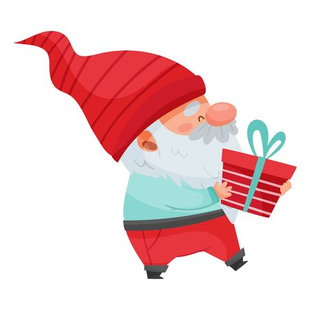 Fantastic Gnome Character with White Beard and Red Pointed Hat Holding Gift Box Vector Illustration Illustration