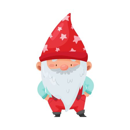 Fantastic Gnome Character with White Beard and Red Pointed Hat Standing with Hands on Hips Vector Illustration