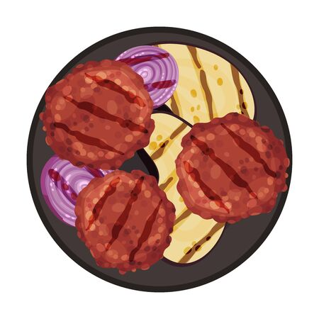 Grilled Food with Patty Meat Rested on Plate with Sliced Eggplant Vector Illustration