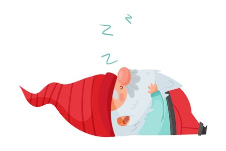 Fantastic Gnome Character with White Beard and Red Pointed Hat Sleeping Vector Illustration Illustration