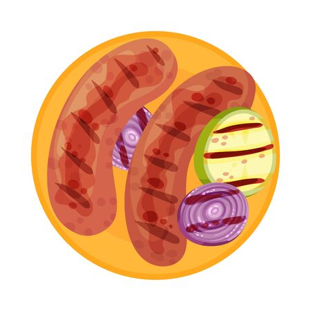 Grilled Food with Sausage or Wiener Rested on Plate with Sliced Vegetables Vector Illustration