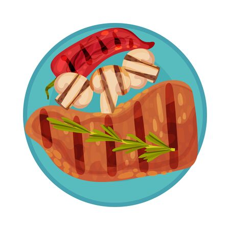 Grilled Food with Tenderloin or Fillet Rested on Plate with Mushrooms Vector Illustration. Top View of Served Meal for Barbecue Concept