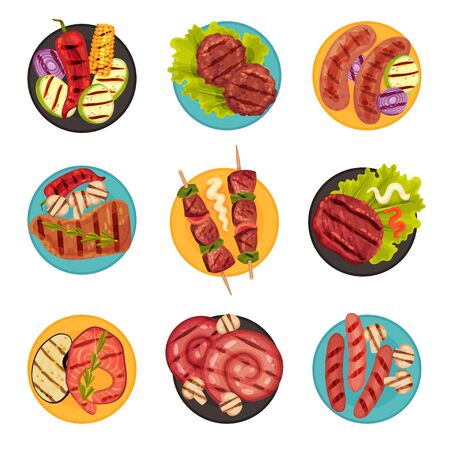 Grilled Food with Meat and Vegetables Rested on Plate Top View Vector Set