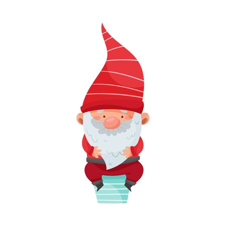 Gnome Character with White Beard and Red Pointed Hat Sitting on Chimney Vector Illustration