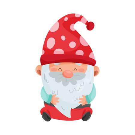 Fantastic Gnome Character with White Beard and Red Pointed Hat Sitting Vector Illustration
