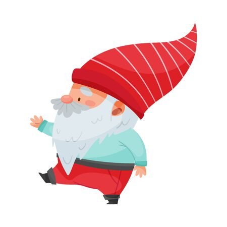 Fantastic Gnome Character with White Beard and Red Pointed Hat Walking Vector Illustration