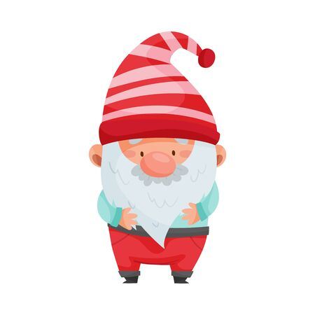 Fantastic Gnome Character with White Beard and Red Pointed Hat Standing Vector Illustration