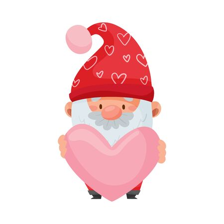 Fantastic Gnome Character with White Beard and Red Pointed Hat Holding Heart Vector Illustration
