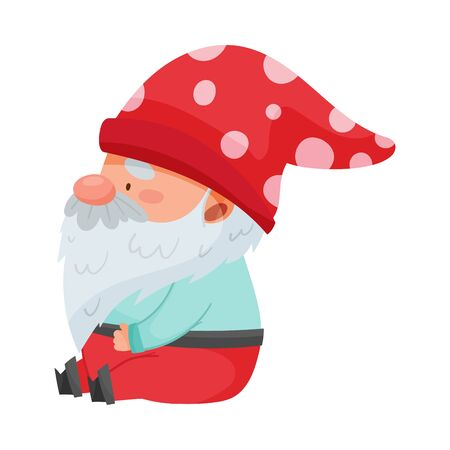 Gnome Character with White Beard and Red Pointed Hat Sitting Vector Illustration