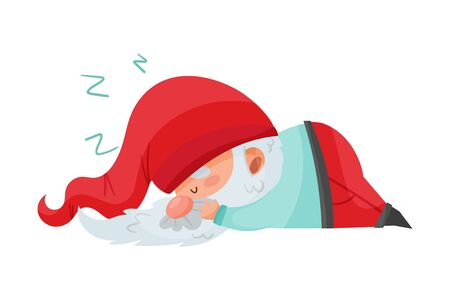 Gnome Character with White Beard and Red Pointed Hat Sleeping Vector Illustration