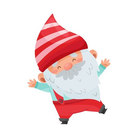 Gnome Character with White Beard and Red Pointed Hat Standing Vector Illustration