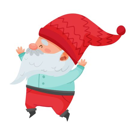 Gnome Character with White Beard and Red Pointed Hat Jumping with Joy Vector Illustration Illustration