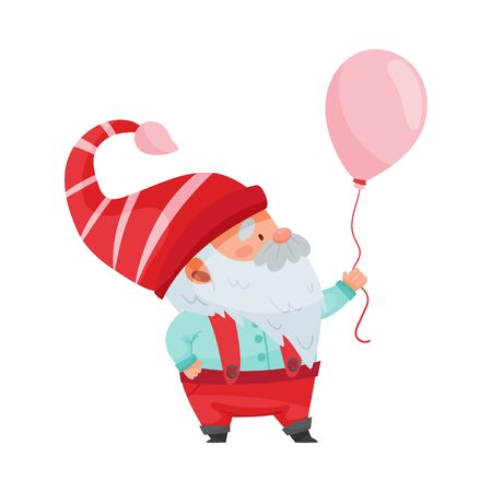 Gnome Character with White Beard and Red Pointed Hat Holding Balloon Vector Illustration