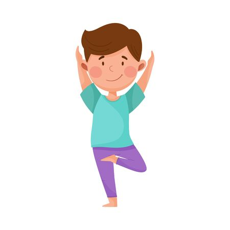 Little Boy Standing in Yoga Pose Breathing Deeply Vector Illustration
