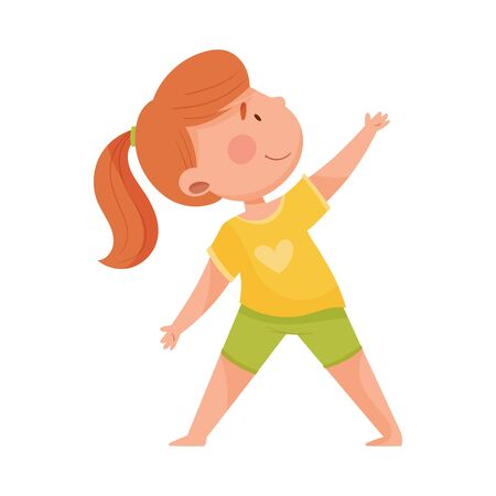 Cheerful Girl Character Standing in Yoga Pose or Stance Breathing Deeply Vector Illustration