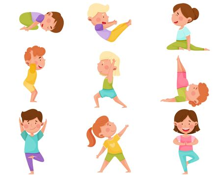 Little Boy and Girl Standing in Yoga Pose Breathing Deeply Vector Illustrations Set