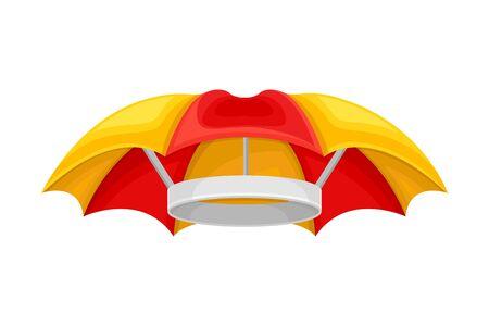 Waterproof Umbrella Shaped Headdress Isolated on White Background Vector Illustration