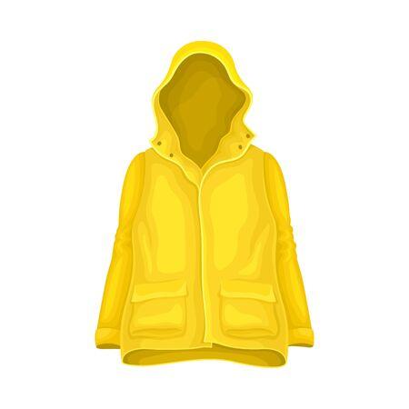 Waterproof Raincoat or Yellow Mackintosh with Hood and Long Sleeves Vector Illustration Illustration