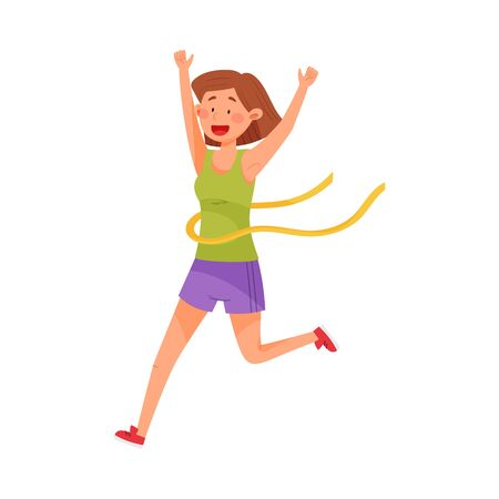 Happy Woman Character in Sportswear Running and Crossing Finishing Line Vector Illustration