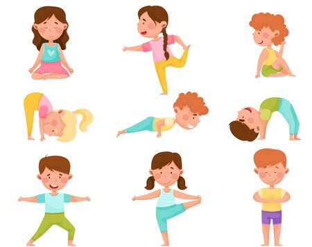 Little Boy and Girl Standing in Yoga Pose Breathing Deeply Vector Illustrations Set Vectores