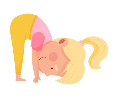 Little Girl Character Practising Yoga Stretching and Breathing Vector Illustration Vectores