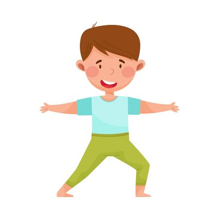 Little Boy Character Practising Yoga Stretching and Breathing Vector Illustration