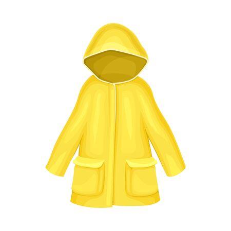Waterproof Raincoat or Yellow Mackintosh with Hood and Long Sleeves Vector Illustration