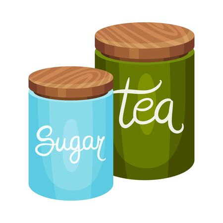 Closed Containers with Sugar and Tea Vector Illustration