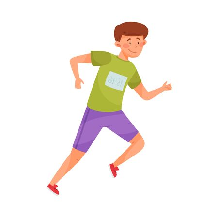 Young Guy in Sportswear Running in Marathon Vector Illustration