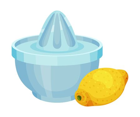 Citrus Juicer with Lemon Fruit Rested Nearby Vector Illustration