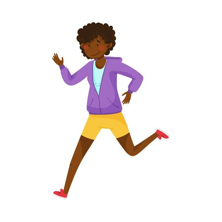 Young Woman in Sportswear Running in Marathon Vector Illustration Vectores