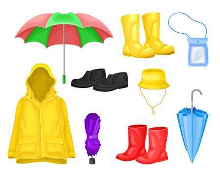 Waterproof Clothes and Things for Rainy Weather Condition with Yellow Raincoat and Rubber Boots Vector Set