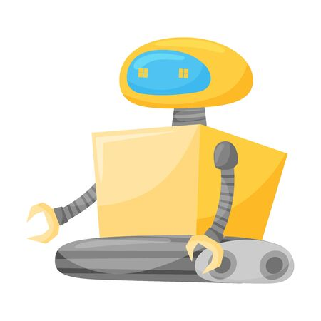 Metal Robot as Artificial Intelligence or Futuristic Android Vector Illustration  イラスト・ベクター素材