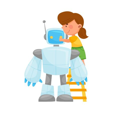 Little Girl Standing on the Ladder and Fixing Robot Vector Illustration