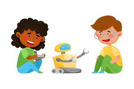 Little Kids Controlling Robot with Control Panel Vector Illustration