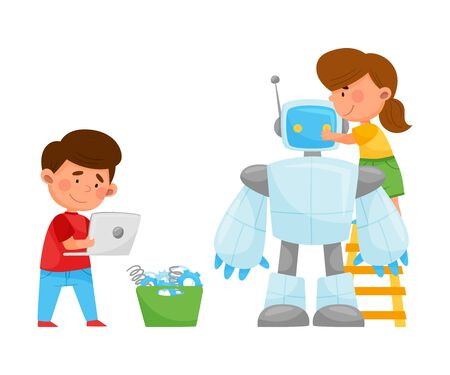 Little Kids Repairing and Fixing Robot Vector Illustration