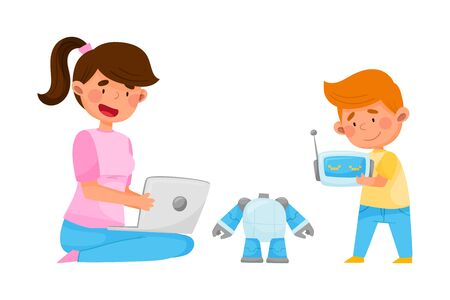 Young Girl Sitting with Kid and Configuring Robot with Laptop Vector Illustration