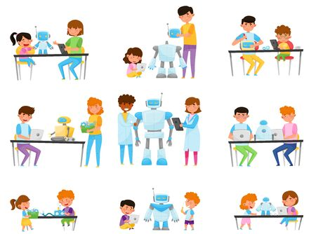 Children and Teenagers Sitting at Tables and Engineering Robots Vector Illustrations Set