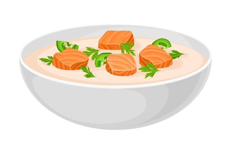 Creamy Soup with Salmon and Pepper Poured in Bowl Vector Illustration Illustration