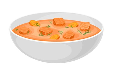 Thick Soup with Salmon and Carrot Poured in Bowl Vector Illustration