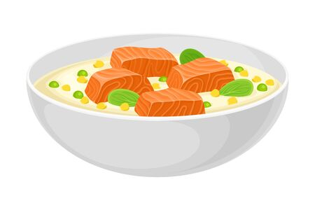 Creamy Soup with Salmon and Corn Poured in Bowl Vector Illustration