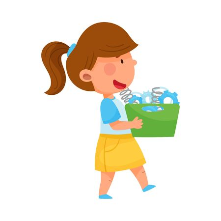 Little Girl Carrying Spare Parts for Fixing Robot Vector Illustration